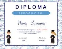 Certificate of kids diploma, preschool,kindergarten template background vector illustration EPS10. stock illustration