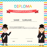 Certificate of kids diploma, preschool, kindergarten template. Background vector illustration EPS10 royalty free illustration