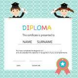 Certificate of kids diploma, preschool,kindergarten template  Royalty Free Stock Images