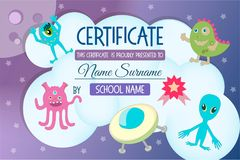 Certificate for a kids teaching game Royalty Free Stock Photos