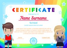 certificate with the little girl and boy students in school uniform, rainbows,the sky and stars vector illustration
