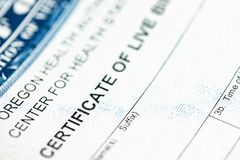 Certificate identification of live birth royalty free stock photography