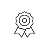 Certificate, medal line icon, outline vector sign, linear style pictogram isolated on white. Royalty Free Stock Photo