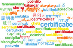 Certificate multilanguage wordcloud background concept Stock Photo
