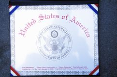 Certificate of Naturalization Royalty Free Stock Photography