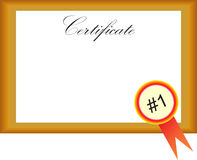 Certificate with number one Royalty Free Stock Photos