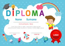 Certificate o diploma das crianças, vetor do projeto do quadro do fundo do espaço da disposição do molde do jardim de infância E ilustração do vetor
