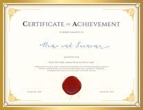Certificate o molde para a realização, apreciação, conclusão o ilustração do vetor