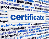 Certificate official document concept Stock Photos