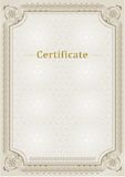 Certificate. Official document. Official border. Royalty Free Stock Photography