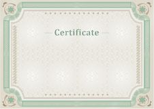 Certificate. Official document. Official border. Beige light green official certificate. Document Royalty Free Stock Images