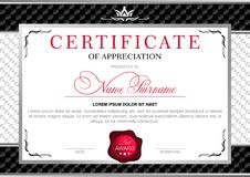 Certificate in the official, solemn, elegant, Royal style. In black and silver tones, with the image of the crown and red wax seal on the background of chess Stock Photography