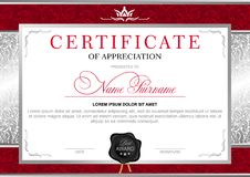 Diploma in the Royal style. Certificate in the official, solemn, elegant, Royal style in red and silver tones, with the image of the crown and black wax seal Stock Photos