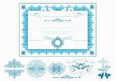 Certificate Or Coupon In Blue Color Royalty Free Stock Photography