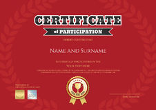 Certificate of participation in red sport theme with gold trophy Royalty Free Stock Photography