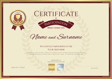 Certificate of participation in sport theme with gold trophy seal Stock Images