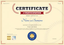 Certificate of participation template in baseball sport theme Royalty Free Stock Image