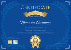 Certificate of participation template in blue theme Stock Images