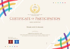 Certificate of participation template with colorful corner and t Stock Image
