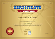 Certificate of participation template with gold background in sp Royalty Free Stock Image
