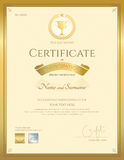 Certificate of participation template in gold color Royalty Free Stock Photos