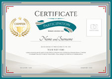 Certificate of participation template with green broder, gold tr Stock Images