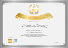 Certificate of participation template in silver border Royalty Free Stock Photo