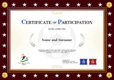 Certificate of participation template in sport theme for footbal Stock Images