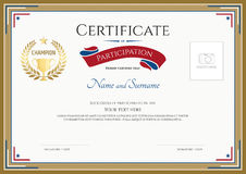 Certificate of participation template in sport theme. Certificate of participation template with gold broder, gold trophy, champion wreath and photo space royalty free illustration