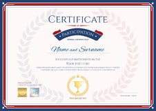 Certificate of participation template in sport theme with gold t Royalty Free Stock Photos