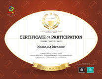 Certificate of participation template in sport theme with rugby. Ball shape and background royalty free illustration