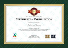 Certificate of participation template in sport theme with rugby Stock Photos