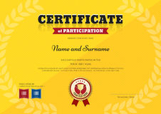 Certificate of participation template in sport yellow theme Royalty Free Stock Photo