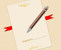 Certificate and pen Stock Photos