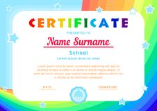 Certificate with a rainbow,the sky and stars in a cartoon style stock illustration