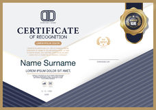 Certificate OF RECOGNITION frame design template layout template in A4 size Royalty Free Stock Images
