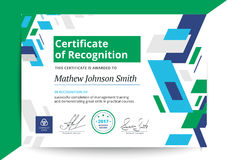 Certificate of recognition template in modern design. Business d Stock Image