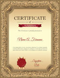 Certificate of Recognition Template with Vintage Floral Frame. Stock Photos