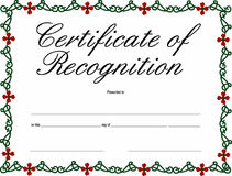 Certificate of Recognition Royalty Free Stock Images