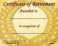 Certificate of retirement Stock Photography