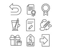 Certificate, Reward and Edit document icons. Keywords, Undo and Surprise package signs. Set of Certificate, Reward and Edit document icons. Keywords, Undo and Stock Photography