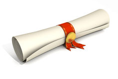Certificate Scroll Stock Image