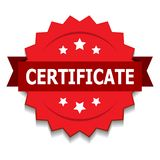 Certificate seal. Vector illustration of certificate seal red star on isolated white background royalty free illustration