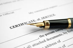 Certificate of service royalty free stock images