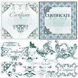 Certificate  set in blue color Royalty Free Stock Photography