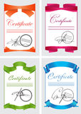 Certificate set, color icons, vector illustration, document template Royalty Free Stock Images