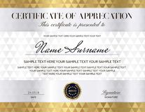 Certificate with silver, gold background and guilloche pattern. Design template with geometric triangle shapes. vector illustration