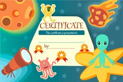 Certificate for a teaching game or a childrens competition. On the theme of space and extraterrestrial civilizations. Vector illustration EPS10 Royalty Free Stock Images