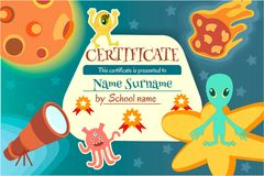 Certificate for a teaching game or a childrens competition royalty free illustration