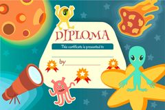 Certificate for a teaching game or a childrens competition. On the theme of space and extraterrestrial civilizations. Vector illustration EPS10 Royalty Free Stock Photo